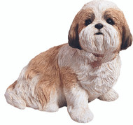 "Sandicast Shih Tzu Statue in Gold/White  (12""H)"