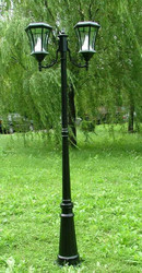 Victorian Solar Lamp Post with Two Lamps-Black