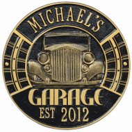 "Vintage Car Garage Plaque 12""Diameter (2 Lines)"