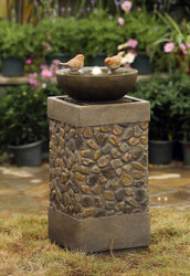 "Two Layers and Birds Fountain with LED Light 29""H"