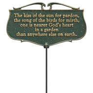 """The Kiss Of The Sun For Pardon..."" Garden Poem Sign"