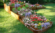 "Tool-Free Classic Raised Garden Bed Split Waterfall Tri-Level 12' x 12' x 22""  (2"" profile) Sienna"