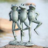 """Dancing Frog Trio Garden Sculpture 19""""H"""