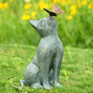 """Curiosity Cat and Butterfly Garden Sculpture 15""""H"""
