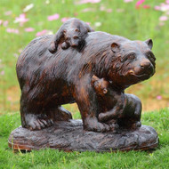 "Playtime Mama Bear and Cubs Resin Garden Sculpture 23""L"