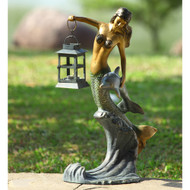 "Mermaid with Lantern Garden Sculpture 21""H"