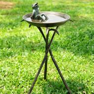"Birdbath with Reclining Frog 22""H"