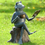 "Joy of Reading Frog Garden Sculpture 15""H"
