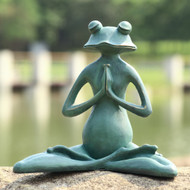 "Meditating Yoga Frog Garden Sculpture 12""H"