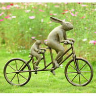 "Tandem Bicycle Bunnies Garden Sculpture 28""W"