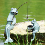 "Fishing Frog Mama & Baby Garden Sculpture Set 20""H"