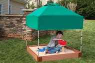 """Tool-Free Classic 4ft. x 4ft. x  5.5in. Composite Square Sandbox Kit with Telescoping Canopy/Cover (2"""" profile) Sienna"""