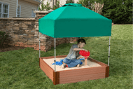 """Tool-Free Classic 4ft. x 4ft. x 11in. Composite Square Sandbox Kit with Telescoping Canopy/Cover (2"""" profile) Sienna"""