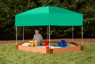 """Tool-Free Classic  7ft. x  8ft. x 5.5 in. Composite Hexagon Sandbox Kit with Telescoping Canopy/Cover (2"""" profile) Sienna"""