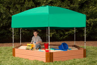 """Tool-Free Classic 7ft. x  8ft. x 11in. Composite Hexagon Sandbox Kit with Telescoping Canopy/Cover (2"""" profile) Sienna"""