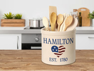 Personalized Heart Flag Stoneware 2 Gallon Crock