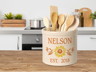 Personalized Sunflower Stoneware 2 Gallon Crock