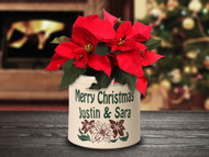Personalized Christmas Poinsettia Stoneware 2 Gallon Crock