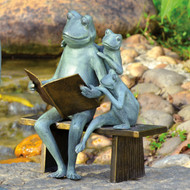 "Reading Frog Family Garden Sculpture 16""H"