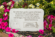 """My mother kept a garden..."" Rectangle with Angel Personalized Memorial Stone 15.25"" x 10.5"""