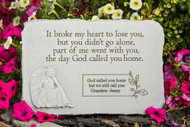 """It broke my heart to..."" Rectangle with Angel Personalized Memorial Stone 15.25"" x 10.5"""