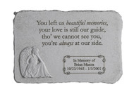 """You left us beautiful memories..."" Rectangle with Angel Personalized Memorial Stone 15.25"" x 10.5"""