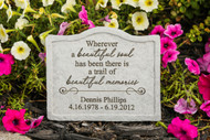 """Wherever a beautiful soul…"" Personalized Memorial Stone 8"" x 6.75"""