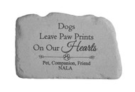 """Dogs leave paw prints..."" Personalized Memorial Stone 11"" x 7"""