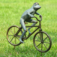 "Frog on Bicycle Garden Sculpture 27""H"