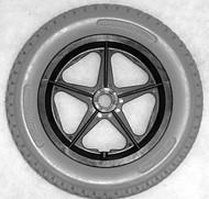 "12 1/2 x 2 1/4"" 5 SPOKE MAG Flush Hub Free Spin 1/2"" Axle Urethane Knobby Tire"