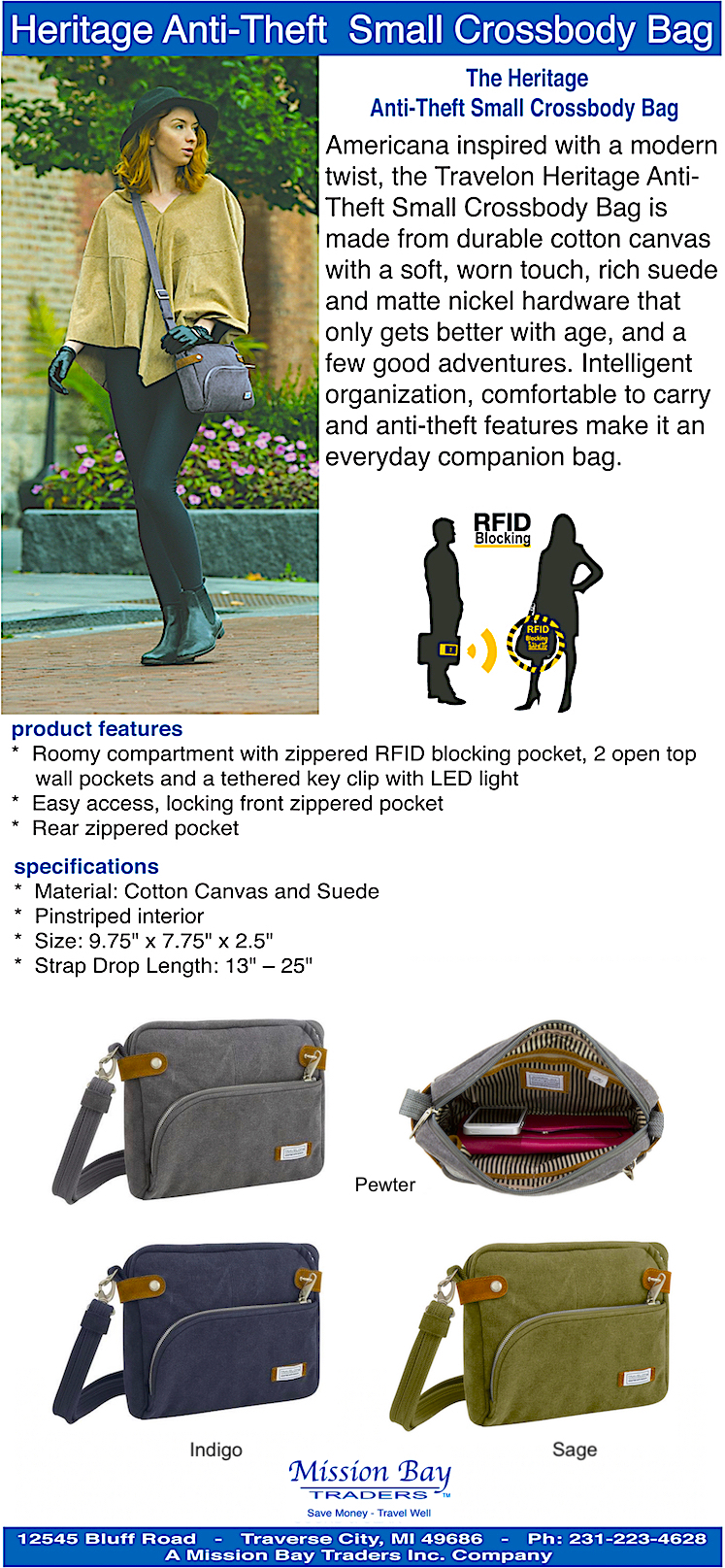 Travelon Anti Theft Heritage Crossbody Bag   Travelon bags