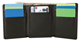 RFID Blocking Leather Tri-Fold Wallet