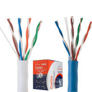 Bare Copper CAT5e 1000ft Cable Riser UTP CMR 24 AWG Solid - (White \ Blue )