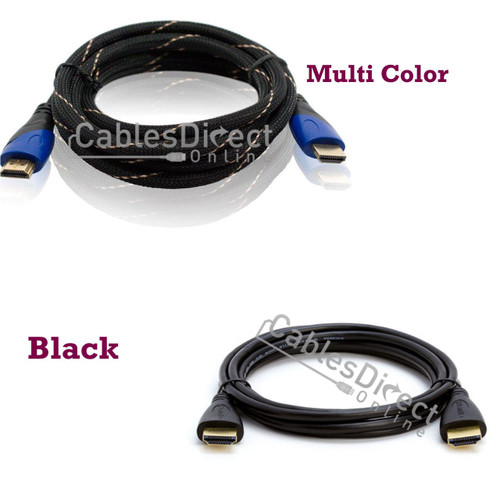 3FT HDMI Cable v1.4 Black / Multi Color Gold Plated for FHD 3D