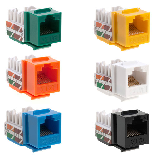 RJ45 Keystone Jack For Cat5e Cable Network Ethernet 110 Punchdown 8P8C ( Blue / White / Green / Yellow / Orange / Red / Black