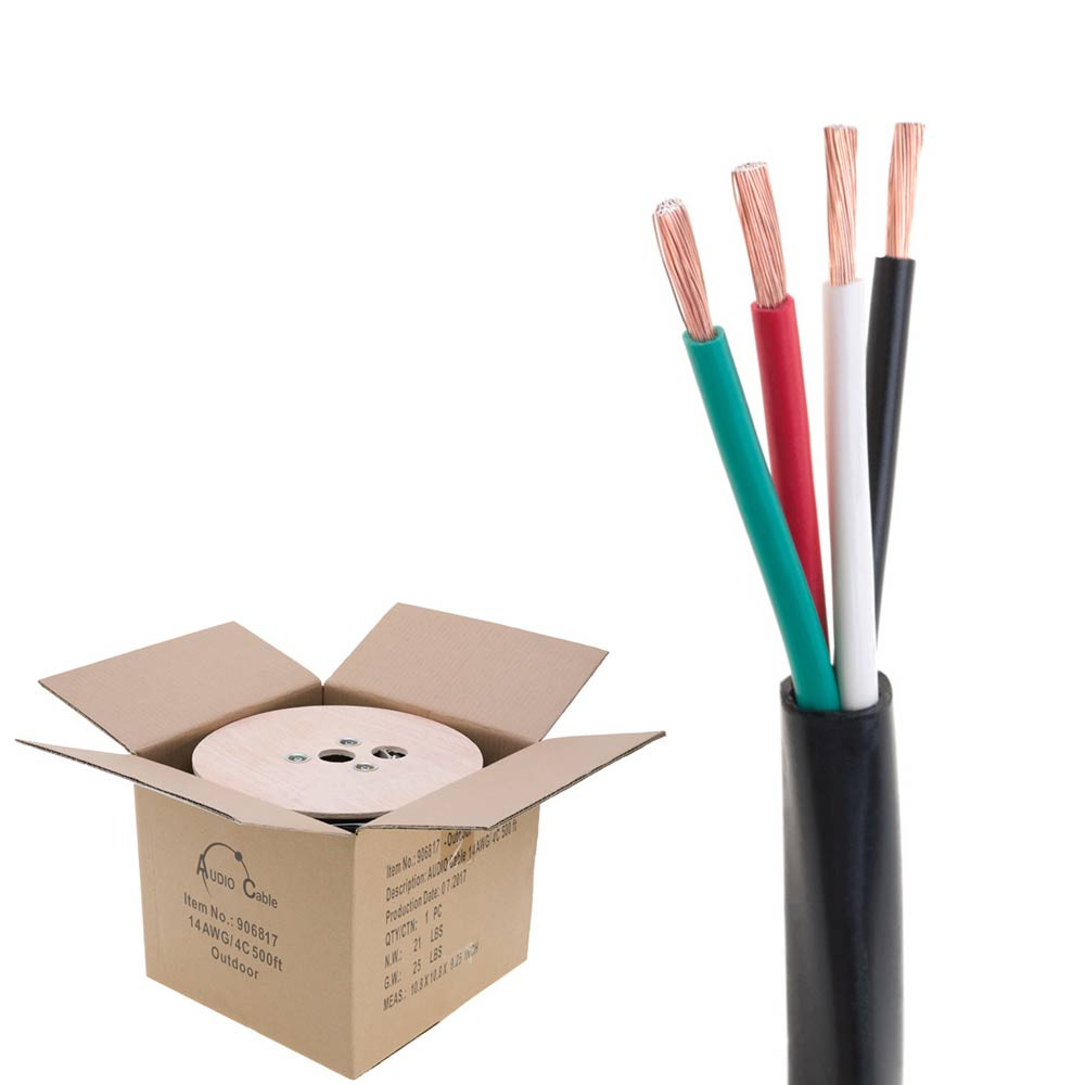 500 ft In Wall 16//4 16AWG Gauge 4 Conductor Speaker Wire Cable CL2 500ft Bulk