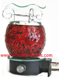 Crackly Glass Night Light Oil Burner Red