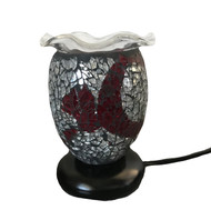 Mosaic Multi Color Oil Burner, Dark Red and Silver