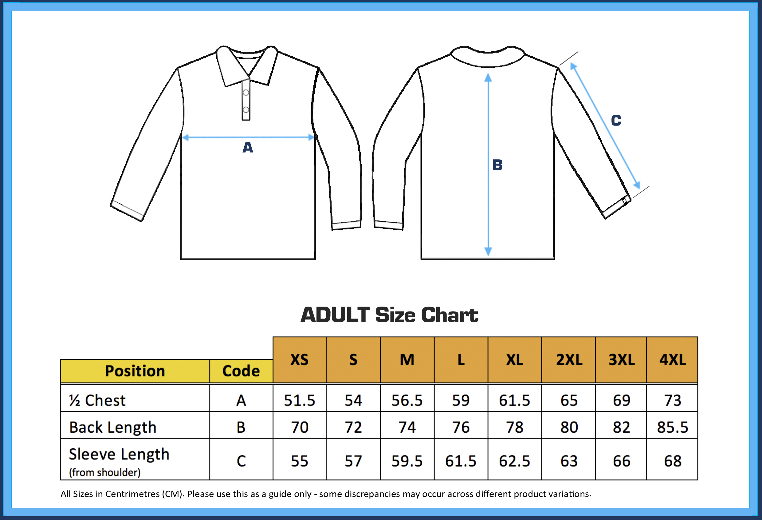 Fishing Shirt Size Chart