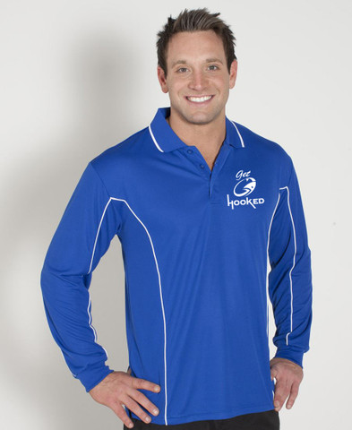 Royal with White Piping Long Sleeve Polo with Logo