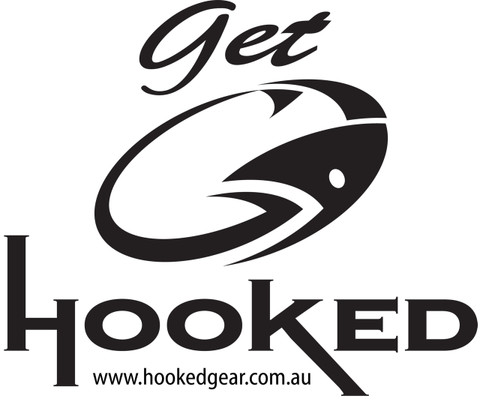 Black 'GET HOOKED' Stickers. Ideal for Boat/Trailer etc