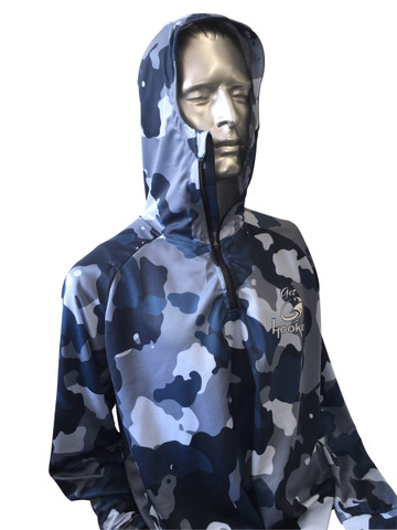 Fish Smart with our Sun Safe UV Protection Full Zip Hoodie. Blue Camo Design