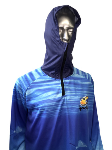 Fish Smart with our Sun Safe UV Protection Full Zip Hoodie. Ocean Blue 'Livin the Dream' Design
