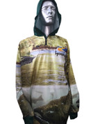 Fish Smart with our Sun Safe UV Protection Full Zip Hoodie. Trout on Fly Design