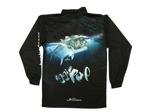 Fish Smart with our Sun Safe UV Protection Tournament Polo Shirt. Black GT Design