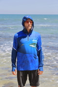 Fish Smart with our Sun Safe Zip Hoodie. UV Protection. Spanish Mackeral Design