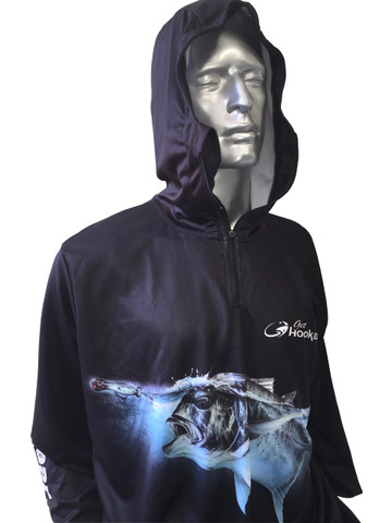 Fish Smart with our Sun Safe UV Protection Full Zip Hoodie. Black 'GT' Design