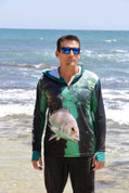 Fish Smart with our Sun Safe UV Protection Full Zip Hoodie. Bream Design