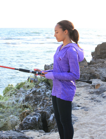Ladies Purple Sun Safe Fishing Shirt Hoodie