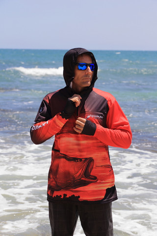 Fish Smart with our Sun Safe Fishing Shirt Hoodies. Barramundi design